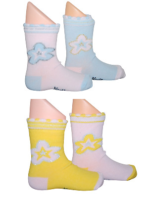 Baby Girls Toddlers Kids Pack of 2 Ankle High Socks Cute Age 12-24 Months