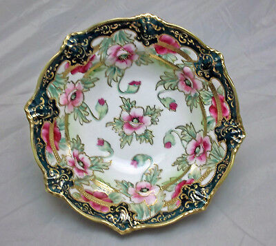 Beautiful Oriental Style Bowl, Hand Painted Roses, Heavy Gold Moriage