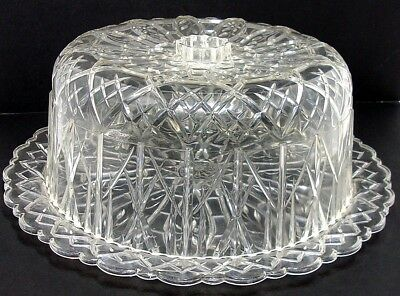 VTG 1960s MCM Round Hard Acrylic Cake Dome Cover Carrier Saver and Serving Plate