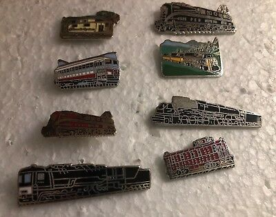 Railroad Hat-Lapel Pin/Tac Assorted Lot Of EIGHT Different Train Pins
