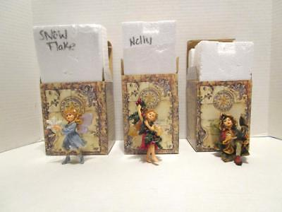 2001 Boyds Collection 3 Wee Folkstones Faeries Ornaments Flurry, Holly & Sienna
