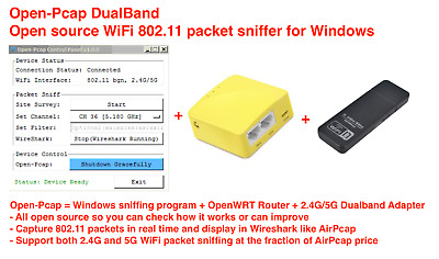 Dual Band WiFi sniffer, 802.11 packet sniffer for Windows(AirPcap alternative)