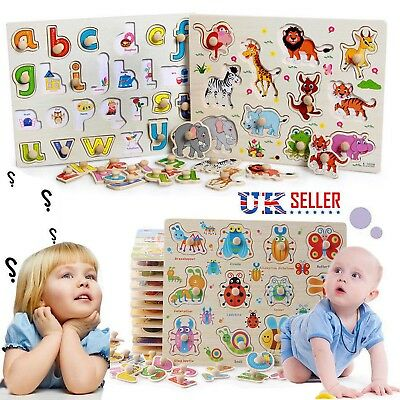 WOODEN ANIMAL LETTER PUZZLE JIGSAW EARLY LEARNING for Baby Kids Educational Toys