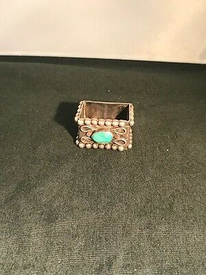Native American  Silver Napkin Ring  with Natural Turquoise Stone