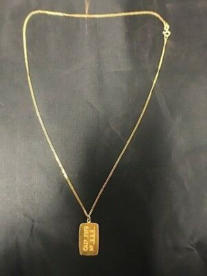 1979 Ultra Rare Nevada City Mint .999 Gold Bar and 14kt Yellow Gold Necklace