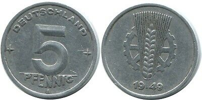5 Pfennig 1949 A Ddr Germany @ae021.1Ds