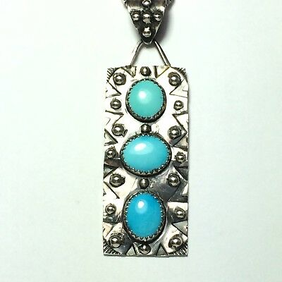 49 Ct Tw Untreated Sleeping Beauty Turquoise Multi Stone Sterling Silver Pendant