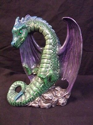 Hand Painted Ceramic Dragon Flying Green