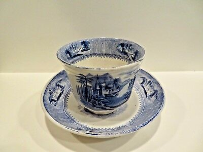 Siam Handleless Cup Staffordshire Blue Transferware By J. Clementson Ironstone