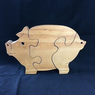 """Three-Piece Carved Wooden Pig Puzzle - Signed """"K"""" - 9 1/2"""" x 6"""" x 1 1/2"""""""