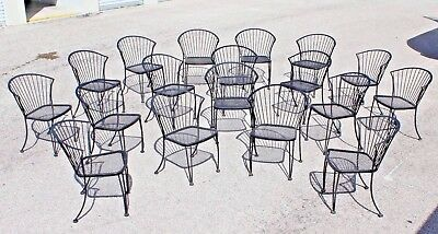 """18 Russell Woodard MCM Wrought Iron """"Pinecrest"""" Pattern stackable Garden Chairs"""