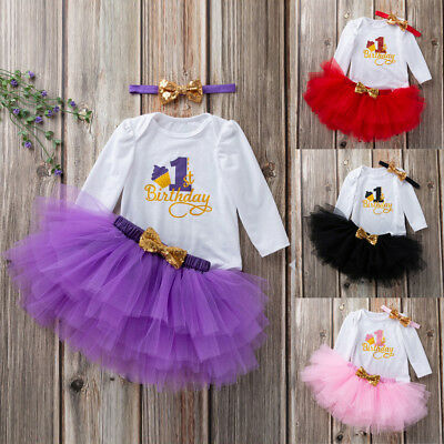 2pc Toddler Newborn Baby Girls 1st Birthday Romper+Tutu Dress Outfit Set Clothes