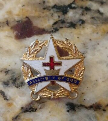 Vintage RARE Assembly of God Cross Collectible Enameled Lapel Pin