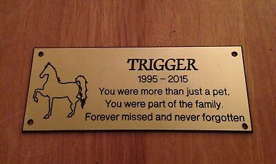 Personalised Brass effect Horse Memorial Bench Plaque