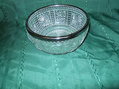 Vintage PRESSED GLASS Fruit BOWL W/ SILVERPLATE RIM- MADE IN ENGLAND