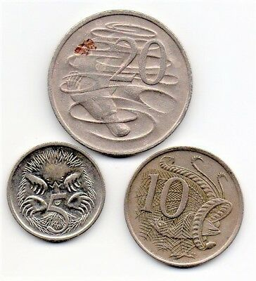 Australia 3 Coin Lot Circulated 5,10,20 Cent