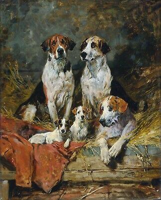 ART PRINT Fathers of Pack Hunting JOHN EMMS VINTAGE BEAGLES DOGS ANTIQUE