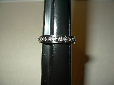 Vintage Men's Silvertone & Prong Set Crystal Eternity Band Ring - Size 12 1/2