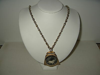 Large Vintage Goldtone & Cream & Gray Lion Cameo Pendant & Chunky Chain