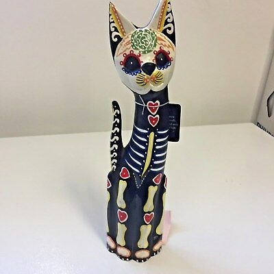 """Hand Painted Cat Carved Wood Folk Art Unique Orignal Tags Made Indonesia 16"""""""