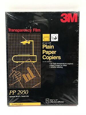 """3M Transparency Film For Copiers PP2950 100 Sheets 8.5"""" x 11"""""""