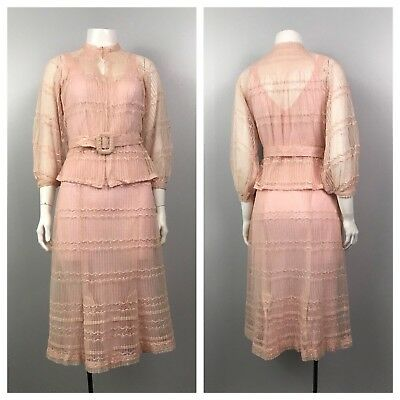 Vintage 1930s Art Deco Pink Sheer Lace Belted  Dress With Blouse Two Piece S