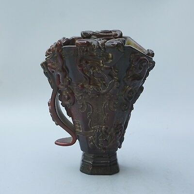 China Exquisite Hand-arved Dragon carving OX Horn cup