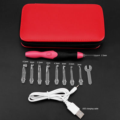 9 in 1 USB Rechargeable LED Light Up Crochet Hooks 2.5-6.5mm Set with Red Case