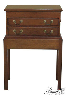 45983EC: Walnut 2 Piece Custom Made Flip Top Silver Chest On Stand
