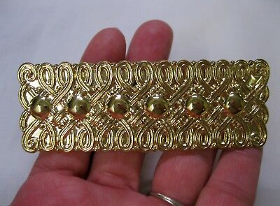 Vtg New Gold Lightweight Rectangle Ornate Metal Hair Barrette French Clip 1980's