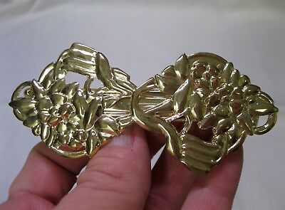Vtg New Gold Lightweight Flower Metal Hair Barrette French Clip 1980's Nos Retro