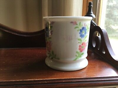 Antique Forget Me Not Mug Cup Porcelain Peach Blue Flowers Gold Victorian