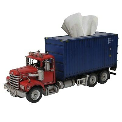 Metal Handmade Retro Red and Blue Container Truck Tissue Box Holder Case