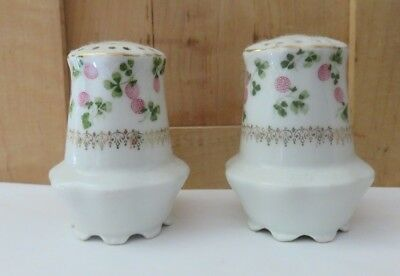 Vintage Antique Floral  Salt Shakers Berry/clover Marked Prussia 1 W /stopper