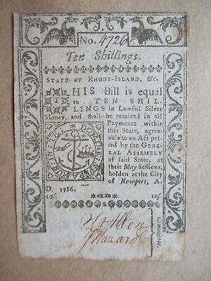 Rhode Island Colonial Currency 1786 10 shillings Very Fine