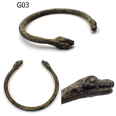 Roman Very Old Bronze Bangle With 2 Snake Heads #G03