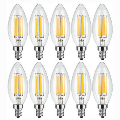 5 x 10 x E12 Bulb LED Dimmable Light Candelabr COB Filament Candle Lamp 2W 4W 6W