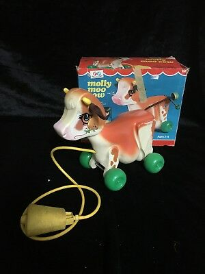Vintage Antique 1972  Fisher Price Molly Moo Cow Pull Toy with BOX and WORKS