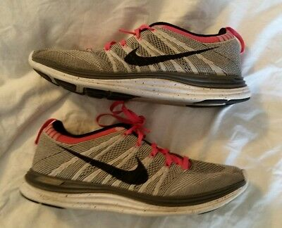 a6ce7e57cc5e Nike Flyknit Lunar One+ Running Shoes Women Gray Pink Size 8 US 554888-001