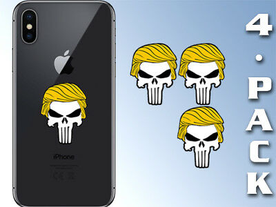 4-Pack: 1.25 inch Small Punisher w/ Trump Hair Stickers - cell laptop pro donald