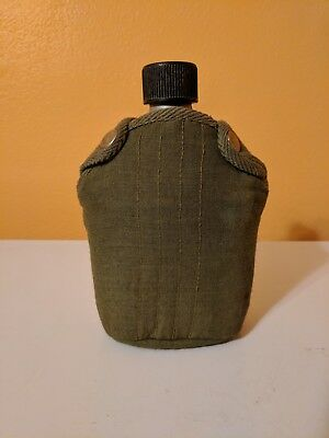 Vintage Vollrath 1945 WW II 2 Steel U.S. Military Army Canteen w/ Canvas Cover