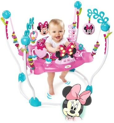 Bright Stars Disney Minnie Mouse Jumper w Sounds Lights Toys Tray for Baby