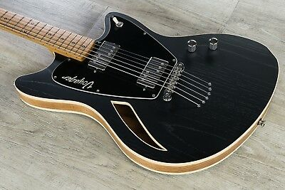 Jennings Voyager Deluxe Electric Guitar Roasted Maple Board Stoptail Satin Black