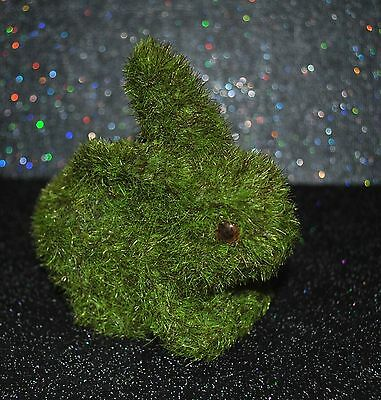 NEW EASTER/Spring BUNNY RABBIT Figurine Green Artificial Grass FAUX MOSS sitting