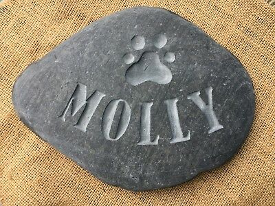 Hand carved, Personalised Pet Memorial stone, for dog, cat grave marker urn