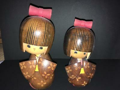 Kokeshi Japanese traditional craft cute rare popular vintage retro 2 girls F/S!