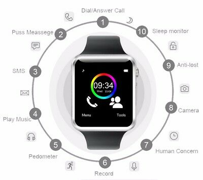 SmartWatch Reloj Inteligente Smart Watch para Android Facebook Whatsapp