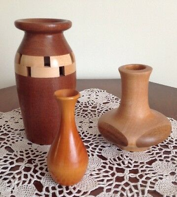 Vintage Hand Made Wooden Wood Treen Vase Job Lot 3 PIne Teak Walnut