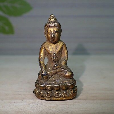 Phra Kring Thai Buddha Statue Art Old Rare Holy Protection Amulet Brass Talisman