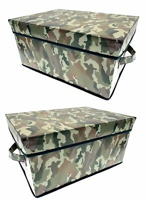 2pc Army Large Collapsible Storage Box Chest Camouflage Boys Kids Room Toys Tidy